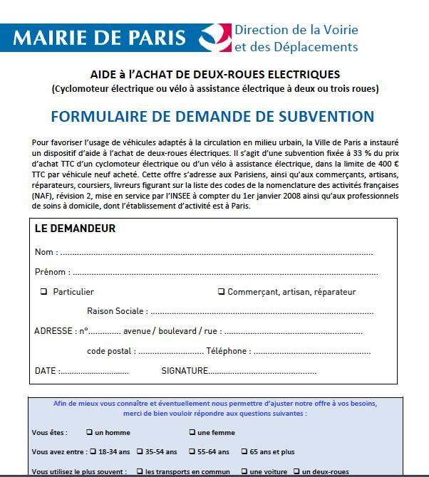 formulaire de demande de subvention à l'achat d'un vélo électrique (Mairie de Paris)